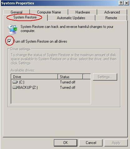 ביטול שחזור מערכת בחלונות XP
